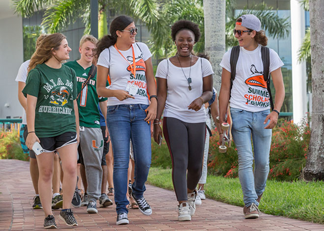 Summer Scholars Students walking on campus